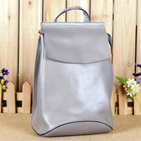 Wholesale Reduce Cream - Wholesale- Personality Fashion Genuine Leather Waterproof Backpack All-match Candy Bag For Women Youth Reduced Age Multi-purpose Bag H066