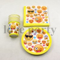 Wholesale Wholesale Paper Tableware - Wholesale- 60pcs\lot Emoji Theme Decorations Napkins Baby Shower Tableware Kids Favors Happy Birthday Party Paper Cups Plates Supplies