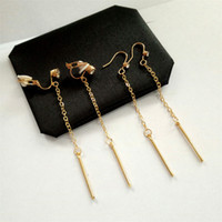 Wholesale Clip Chain Earrings Crystal - XS Long One Word Shape Chain Clip Earring Punk Wind Metal Mosaic Crystal Hook Earrings For Women Decoration TJ011