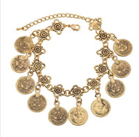 ancient gold charms wholesale 2018 - European and American retro coin tassel bracelet sets Fashion jewelry alloy plating Ancient gold Antique silver Fashion jewelry accessor