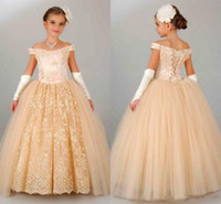 Wholesale Pageant Gloves Girls - Champagne Lace Ball Gown Girl Pageant Dresses 2017 Off Shoulder Applique Floor Length Kid Formal Communion Gowns With Gloves