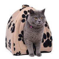 ingrosso casa di gatto nero-Prezzo all'ingrosso casa per gatti e letti per animali domestici 5 colori beige e rosso porpora, kaki, nero con striscia zampa, bianco con zampa banda