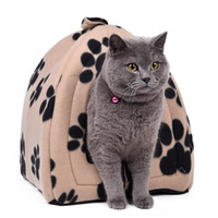 lits de chat rouge achat en gros de-Prix de gros Cat House et lits d'animaux 5 couleurs beige et rouge violet, kaki, noir avec bande de patte, blanc avec bande de patte