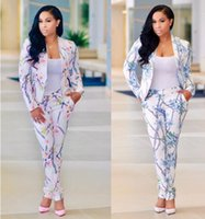 Wholesale Woman Wearing Business Suits - S-XL Women's Suits & Blazers Fashion Slim Fitted Floral Print Bodycon Blazers Suit Ladies Business Suit Professional Work Wear 2017