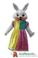 costumes de lapin de pâques personnalisés achat en gros de-Costume de mascotte de fille de Pâques lapin de bande dessinée costumes pour enfants fête d'anniversaire déguisement Mascotte mascottes personnalisées Arismascots caractère
