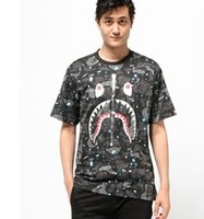 Men spacer couplings - Camouflage splash shark male and female T shirt round neck short T personality half sleeve sleeve couple kanye west skateboard SPACER SHARKS