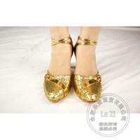 Wholesale Sexy Dance Latin Shoe - Gold Shoes Bowtie Sexy Low Wedding Heels Ballet Mary Jane Cross Strap Glitter Footwear Latin Dance Cheap Chunky Heel New