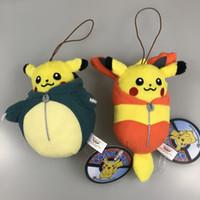 """Wholesale Mascot Anime - Top New 2 Styles 4"""" 10CM Pikachu Poke Doll Ichiban Kuji Nebukuro F Mascot Snorlax Flareon Dolls Gifts Pendants Plush Soft Stuffed Toys"""