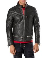 Wholesale Genuine Leather Sleeve - Top quality Tide Brand Fashion Desinger Faux Leather Punk jacket brand PF42 Coats PU Leather Slim fit Sporty Style Men Casual Jacket M-3XL