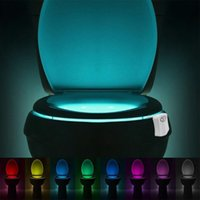 Wholesale Lamparas Led - Sensor Toilet Light 8 Colors Intelligence LED Battery-operated Lamp lamparas Human Motion Activated PIR Automatic RGB LED Toilet Nightlight