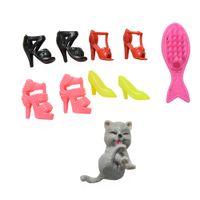 Wholesale Cat Shaped Shoes - 1 Set Dolls Accessories Kids Toys Blister toy for Barbie Plastic Shoes Fish Shape Comb Cat For Barbie Doll