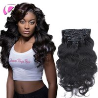 Wholesale Body Wave Hair Extension Clips - Clip In Human Hair Extensions Brazilian Virgin Hair Clip In Extensions 70-200g Clip In Brazilian Hair Extensions Color #1B