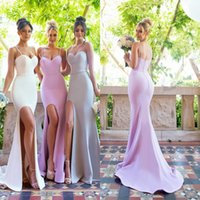 Contar Apartadero Baratos-Simple Spaghetti Straps sirena vestidos de dama de honor Plain Sexy Side Split vestido de baile Long Count Train Maid de Honor Girls Vestidos Formal