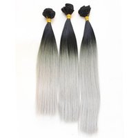 Wholesale Wholesale Gray Weaving Hair - New fashion 3 bundles Hair Weft color 1b gray silver High Temperature Hair Weave Hair Extension for full head free shipping