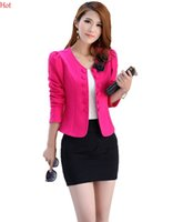 Wholesale Women Double Breasted Coats Pink - Hot Double Breast Casual Jacket Women Short Overcoat Ladies Jackets Tops O-Neck Slim 3D Flowers Coats Top Plus Size Women Outerwear SV006099