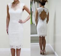 Wholesale sweetheart wedding dresses cheap online - New Knee Length Full Lace Wedding Dresses Sweetheart Open Back Short Beach Boho Dress For Bridal Gowns Vestidos De Noiva Cheap