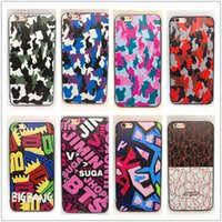 Wholesale Embossment Case Iphone - DHL Free Shipping 3D Relief Embossment Painted TPU Cover Soft Phone Protection Camouflage Case for iPhone 6 6S 7 Plus