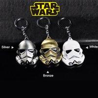 Wholesale Cartoons Cars Kids - Star Wars alloy Key chains Imperial Stormtrooper Car Key ring Cartoon Key pendant White silver  bronze 6cm kids toys wholesale