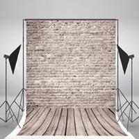 hölzerne hochzeit kulissen großhandel-5x7ft (150x210cm) Grey Brick Wall Hintergrund No Wrinkles Holzboden Fotografie Kulissen für Hochzeit