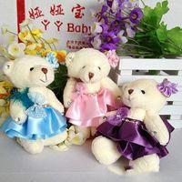 Wholesale Teddy Bears Diamond - Plush Nano Doll soft mini 12cm diamonds PP cotton cartoon teddy bear flower bouquets small bears baby girl toys