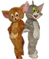 Wholesale Tom Jerry Halloween Costumes - High quality Tom Cat and Jerry Mouse Mascot Costume Popular Cartoon Character Costume For Adult Fancy Dress Halloween carnival costumes