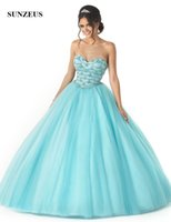 Sweet 16 Ball Gowns Menta Blue Girls Quinceanera Party Dress Sweetheart abbagliante Beaded Lussuoso Turquoise Vestidos Debutantes