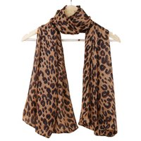 Wholesale Soft Leopard Print Scarfs - Wholesale- Fashion Lady Leopard Print Scarf Women Large Long Voile Scarves Shawls Winter Warm Soft Wrap Scarf Foulard Femme 165*70cm