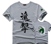 Wholesale Short Sleeve Police Shirt - 2016 Japan Anime Attack On Titan Men T Shirts Women Military Police Regiment Logo T-shirts Short Sleeve Couple Cartoon Tops