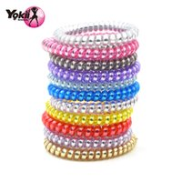 Wholesale elastic bracelet wire - YOKII Fashion Popular Women Girls Colorful Telephone Wire Style Elastic Hair Band Rope or Bracelet Gift