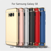 Wholesale Galaxy Note Full Case - Ultra thin full protector PC + Electroplating 3 in 1 case shockproof protective cell phone cover for Samsung Galaxy S7 S8 edge Note 8