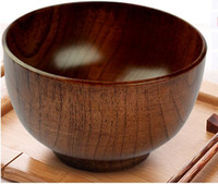 Wholesale Wholesale Japanese Rice Bowls - DHL ECO Wooden stripe bowl Japanese style natural wood container log bowl tableware fruit rice salad kitchen round bowl high quality