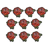 Wholesale Accessories For Sewing - 10PCS flower embroidery patches for clothing iron-on rose patch applique iron on patches sewing accessories badge stickers on clothes DIY