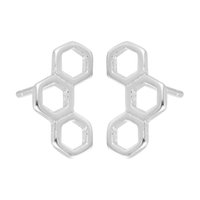 Wholesale Earring Stud Post Silver - 5 pairs lot 925 Sterling Silver Jewelry 3 Hexagon Geometric Lovely Honeycomb Post Stud Earrings for Women Birthday Gift