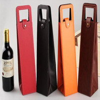 Wholesale Wine Packaging Box - Luxury Portable PU Leather Single Red Wine Bottle Tote Bag Packaging Case Gift Storage Boxes With Handle CCA6427 50pcs