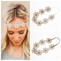 Wholesale Sunflower Headbands - New Flower Headbands Flowers Elastic Head Bands Sunflowers Girls Hairband Garlands Hair Accessories Princess Headdress Hair Accessories