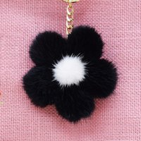 Wholesale Mink Car - Free shipping 2017 new fashion Korea imported mink fur pom pom Sun flower Women's bag car keychain girls lovely creative gifts