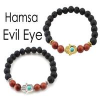 Wholesale Evil Eye Hamsa Beaded Bracelet - 8mm Protection Energy Healing Charm Stretch Bracelet Hamsa Evil Eye Mala Yoga Jewelry Essential Oil Diffuser Bracelet B351S