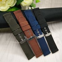 Wholesale Sports Needle - Watch Band Outdoor Sports Nylon Nato Strap 18mm 20mm 22mm 24mm Handmade Canvas Watchband Steel Metal Needle Buckle
