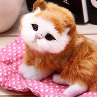 Wholesale Sleeping Cat Cute Plush - Wholesale- Mini Cute Simulation Plush Animal Cats Lazy Sleeping Cats Craft Toy with Sound for Birthday Christmas Gift Doll Decorations