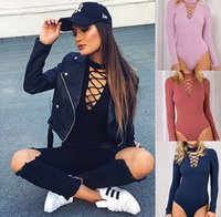 Wholesale Cross Strap Tights - Women Jumpsuits Sexy V-Neck Jumpsuit Rompers Cross Strap Long sleeved Slim Elastic Short tight Bodysuits