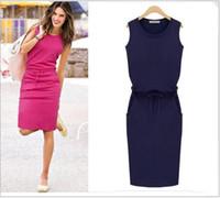 Wholesale Buttocks Belt - New Pattern Round Neck Sleeveless Gray Directly Straight Skirt Package Buttocks Belt Dress