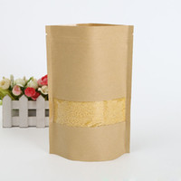 Wholesale valve windows - 18x26cm Resealable Kraft Paper Stand Up Pouch Ziplock Valve Bags With Window Food Storage Package Bag ZA4166