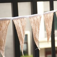 Wholesale Burlap Products - Wholesale- 2.5m Pcs 11flag Vintage Chic burlap linen lace bunting flags pennant for party wedding garland decoration product supply
