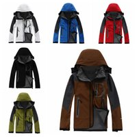 Wholesale Wholesale Jackets Soft Shell - 6 Colors TNF Outdoor Men Winter Coat Soft Shell Hoodies Outdoor Hiking Jacket Sports Keep Warm Clothes Sportswear CCA7622 10pcs