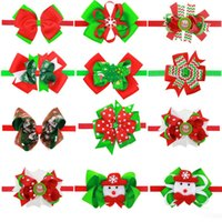 Bandas para bebés Bow Girls Christmas Boutique Accesorios para el cabello Kids Flower Elastic Headband Niños Snowman Ribbon Bow Hairbands
