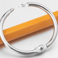 Wholesale Book Binders - 50pcs Hot Sale JTL Brand New Nickel Plated Iron Book Loose Leaf Binder Ring Keychain Key Rings