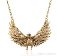Wholesale Horses Sweater Women - Retro Animal Maxi Necklaces Ethnic Flight Horse Necklace Fashion Women Long Sweater Chain Gold Plated Metal Jewelry Accessories