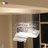 Wave Luxury Crystal Ceiling Chandeilers Wedding Bedoom Lamp Restaurante Quadrado Moderno Simples Longo LED Crystal Light Fixture