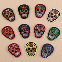 Wholesale Skull Embroidery Patch Skull Flower Embroidery Iron On Patch Badge Bag Applique Craft Clothes Accessories Iron on Patches for Clothes