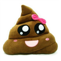 Wholesale Pillow For Massage - Hot Funny Bowknot Poop Emoji Pillow Cute Emotion Cushions Stuffed Plush Toy Doll Gifts For Girls